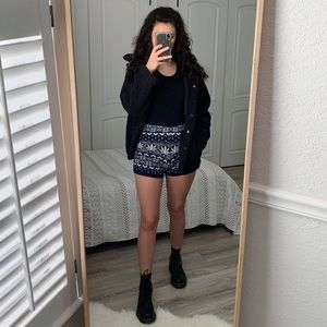 Urban Outfitters Navy Print Sweater Shorts Medium